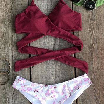 Fashion Sexy Fall Floral Cross Bikini Set For Women Red