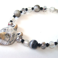 Wolf Bracelet Ceramic Wolf Head Bead Black And Gray Banded Agate Beads And Glass Beads