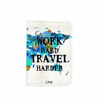 Work Hard Travel Harder Customized Cute Leather Passport Holder - Passport Covers_SUPERTRAMPshop