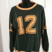 vintage 1970s 60s green yellow sweatshirt