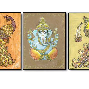 Set of 3 Art paintings PRINTS, Ganesha Peacock Painting Picture, Spiritual Painting, Religious art, Indian Goddes, Ethnic Bohemian wall art