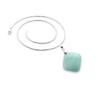 Amazonite  Pendant , Sterling Silver Chain