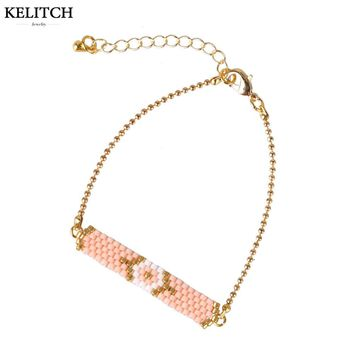 KELITCH Jewelry 2017 Newest Statement 1Pcs Pink White Crystal Seed Beaded Summer Cute Girls Birthday Gifts Friendship Bracelet
