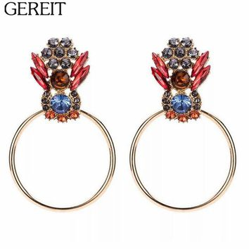 GEREIT Bohemia Gold Filled Big Circle Earrings Vintage Acrylic Crystal Palace Drop Earrings For Women Bijoux Boho Indian Jewelry