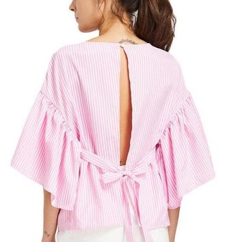 Open Back Blouse Shirt Women Pink Self Tie Kimono Sleeve Sexy Striped Summer Tops Fashion Cut Out Tunic Blouse