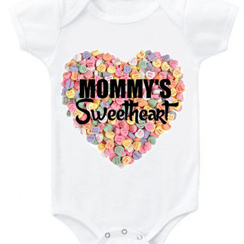 "Valentine's ""Mommy's Sweetheart"" candy background heart graphic baby bodysuit or organic cotton toddler t shirt"