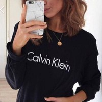 """Calvin Klein"" Print Round Neck Long Sleeve Pullover Sweater Top"