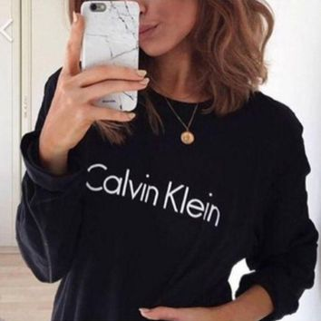 """Calvin Klein"" Trending Women Casual Letter Print Round Neck Long Sleeve Pullover Top Sweater I"