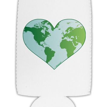 World Globe Heart Collapsible Neoprene Tall Can Insulator