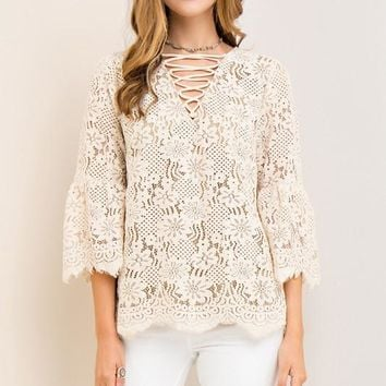 Taupe 3/4 Sleeve Crochet Lace Up Top