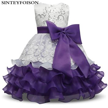 Brand Children Kids Layered Dresses 3 4 5 6 7 8 Year Birthday Outfits Dresses Girls Evening Party Formal Wear Girls Clothing