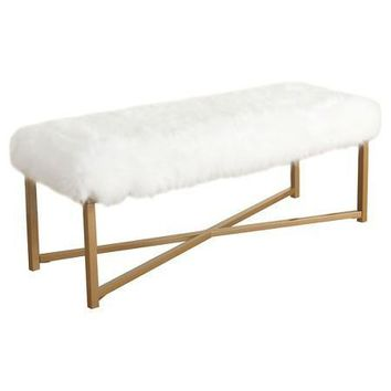 Essa Faux Fur White Rectangle Bench