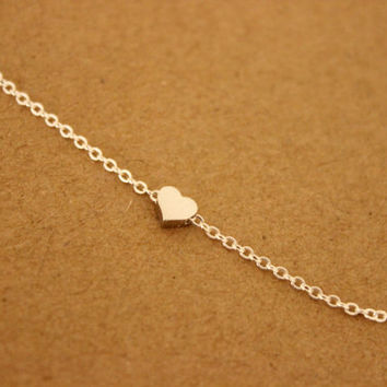 Also available in gold or rose gold, tiny silver heart bracelet, dainty bracelet, delicate bracelet, minimalist, thin bracelet, sister gift