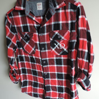 Vintage Chi Omega Upcycled Plaid Flannel Shirt // Size SMALL // Ready to Ship // Only One