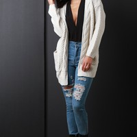 Cable Knit Open Front Longline Cardigan
