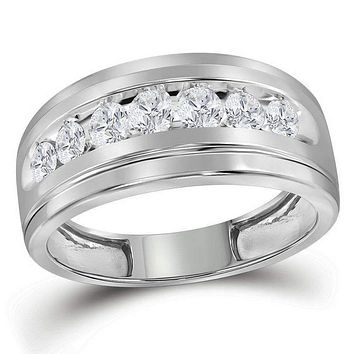 10kt White Gold Men's Round Diamond Wedding Band Ring 1.00 Cttw - FREE Shipping (US/CAN)