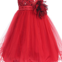 (Sale) Baby Girls 18-24 Months Red Sequin Party Dress w. Lettuce Hem