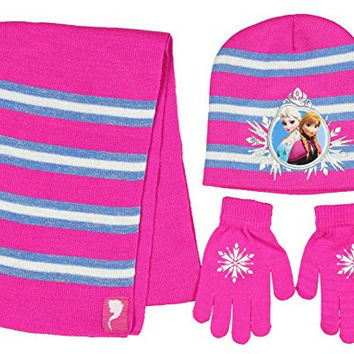 Disney Frozen 3 Piece Beanie Set Knit Hat Gloves and Scarf Girls' One Size