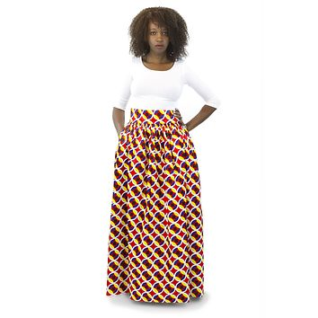 African Maxi Skirt - Concentric Print Red, White and Yellow