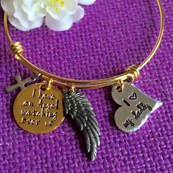 Memorial Jewelry Bracelet - I have an angel watching over me. Daddy/Mommy* Keepsake Jewelry - Remembrance Jewelry