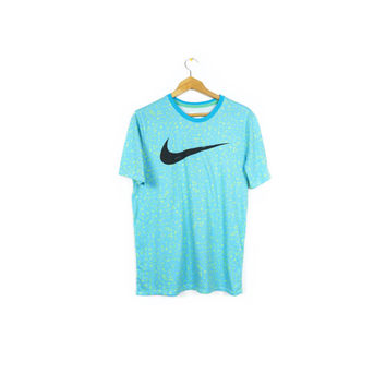 NIKE bold allover pattern shirt / black swoosh logo tee / blue & green neon / lagoon/gamma t-shirt / mens medium