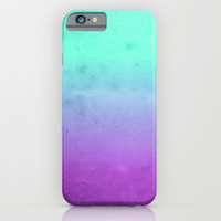 Purple Mint Turquoise Grunge Ombre Colors iPhone & iPod Case by Hyakume