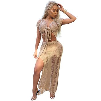 Straps Bandage Crop Top with High Waist Long Split Skirt Two Pieces Beach Set