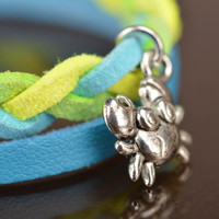 Handmade designer genuine leather cord wrist bracelet blue and yellow with charm