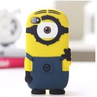 3D blue silicon material Despicable Me Yellow Minion phone case cover for iphone Case for iphone 5 5S 5C (Style-1)