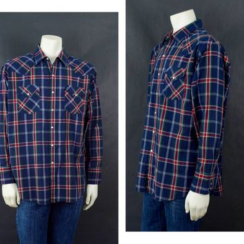 Vintage Western ELY Plains Shirt, Plais Men's Button Up, 70s Long Sleeve Shirt, Vintage Plaid Shirt , Size Extra Large, Rockabilly Style