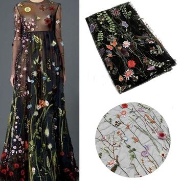 51inch 1 Yard Polyester Floral Embroidery Mesh Wedding Dress Lace Fabric New