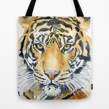 Tiger Watercolor Painting Tote Bag by Susan Windsor