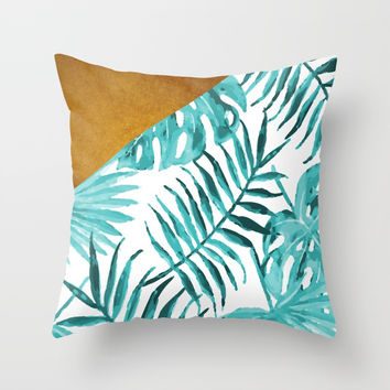 Aqua Tropical Leaves In Gold Throw Pillow by byjwp