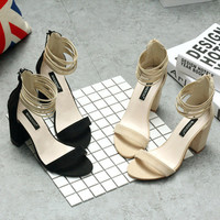 Summer Fashion Hollow Bandage Zip Exposed Toe Sandals Women Thick Heel Heels Shoes