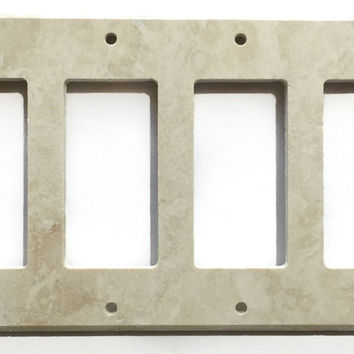 Ivory Travertine Quadruple Rocker Switch Wall Plate / Switch Plate / Cover - Honed