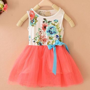 Summer Beauty Kids Bowknot Tutu Flower Party Princess Tulle Dress Baby Girl Clothes