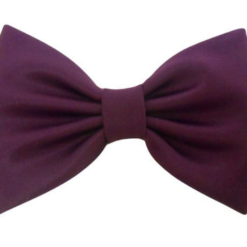 Purple Midnight Satin Hair Bow, Blue GirlsHair Bow,Retro Fabric Hair Bow, Extra Large Hair Bow