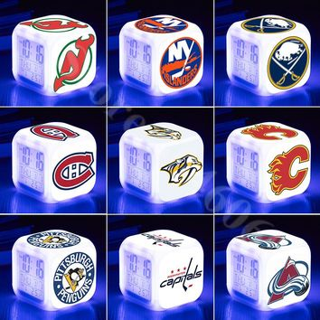 nhl Team Logo Collection LED Cube Alarm Clock 7 Colors LED Glowing Night Light Bedside Lamp for Children Fans Gift Desktop Clock
