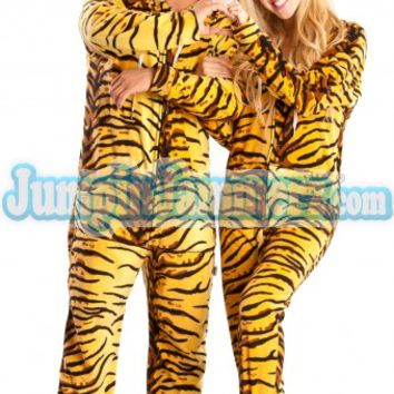 Tiger Skin Hooded Adult Pajamas - Hooded Footed Pajamas - Pajamas Footie PJs Onesuits One Piece Adult Pajamas - JumpinJammerz.com