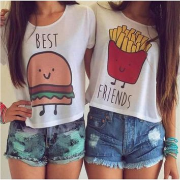 Women T-shirt Hot Summer Funny Best Friends T Shirt And Coffee Duo Flowy Print Tees Burger fries baNvTx16