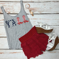 Y'all American Flag Tank: Grey
