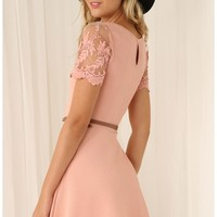 Party dresses > Pastel Pink A-Line Dress with Lace Sleeves