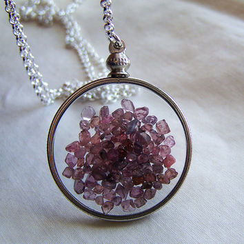 Floating Spinel Crystals Double Sided Glass Locket Necklace