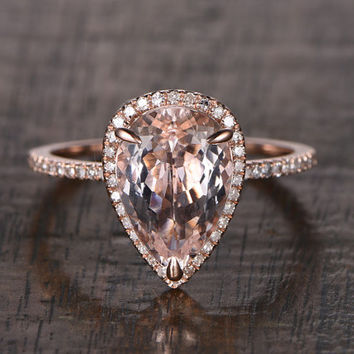 BIG 8x12mm Morganite Engagement ring Rose gold,Diamond wedding band,14k,Pear Shaped Cut,Gemstone Promise Bridal Ring,Claw Prongs,Halo ring