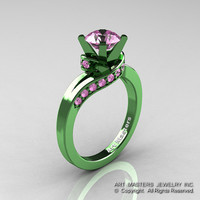 Classic Military 14K Green Gold 1.0 Ct Light Pink Sapphire Designer Solitaire Ring R259-14KGGLPS