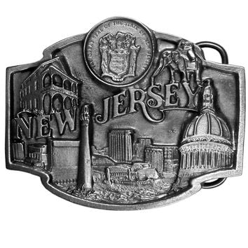 Sports Accessories - New Jersey State Seal Antiqued Belt Buckle