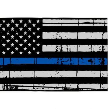 Thin Blue line decal - State of Colorado Thin Blue Line Grey tattered Flag Decal - Various Sizes