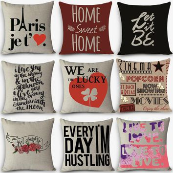 Cheap price High quality home decorative pillow LOVE sweet words Printed 45x45cm pillowcase Vintage Cotton Linen pillows MYJ-G8