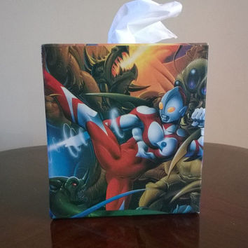 Ultraman superhero comic book decoupage tissue box cover
