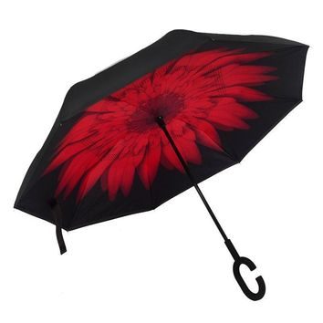 Ceiourich Windproof Reverse Folding Double Layer Inverted Chuva Umbrella Self Stand Rain Protection C-Hook Hands Umbrella-001